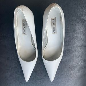 Contemporary White Pointed Toe Pumps